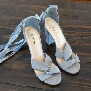 Grey strappy heels